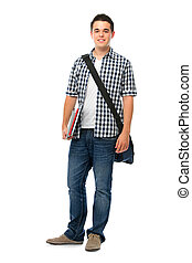Smiling teenager with a schoolbag standing on white...