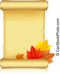 scroll with autumn leaves - Vector illustration of scroll...