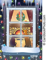 Christmas scene-dog and cat on the front of fireplace.Vector...
