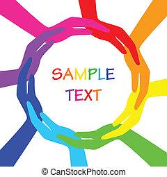 vetorial, círculo, coloridos, mãos