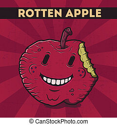 Rotten apple - Funny, cartoon, malicious, violet monster...