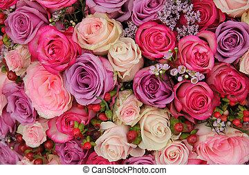 Pastel wedding flowers - Wedding flowers: roses in various...