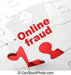 Protection concept: Online Fraud on puzzle background