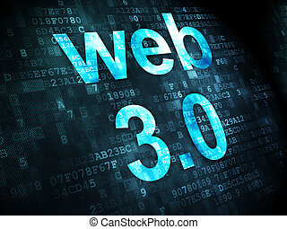 SEO web development concept: Web 3.0 on digital background -...