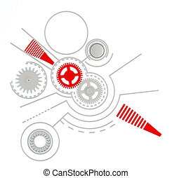Technological background with gears and buttons and other...