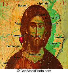 Jesus Christ - Icon of Jesus Christ on the old map of Judea
