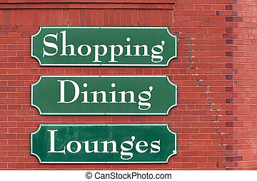 Market signs - Signs on the brick wall of Saint John Market,...