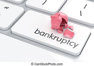 Broken piggy bank on the computer keyboard
