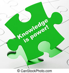 Education concept: Knowledge Is power on puzzle background -...