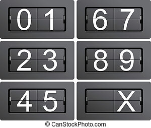 Numeric series 0 to 9 from mechanical scoreboard
