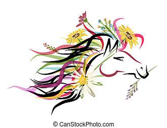 caballo, cabeza, Bosquejo, floral, decoración, su,...