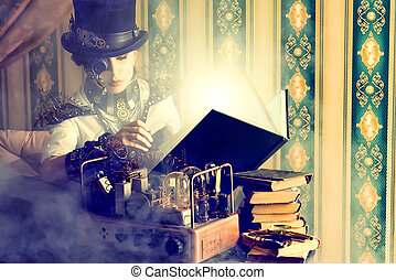 thoughtful reading - Portrait of a beautiful steampunk woman...