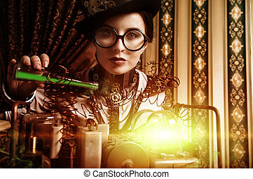 the novel - Portrait of a beautiful steampunk woman over...