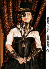 heroine - Portrait of a beautiful steampunk woman over...