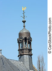 Octagonal belfry with clocks and weathercock - Octagonal tin...