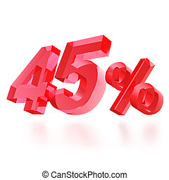 Sales concept: 45% off sign on white background, 3d render