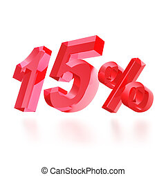 Sales concept: 15 off sign on white background, 3d render