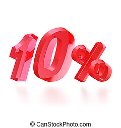 Sales concept: 10 off sign on white background, 3d render