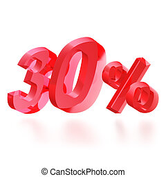 Sales concept: 30 off sign on white background, 3d render