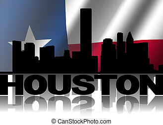 Houston skyline and text reflected with rippled Texan flag...