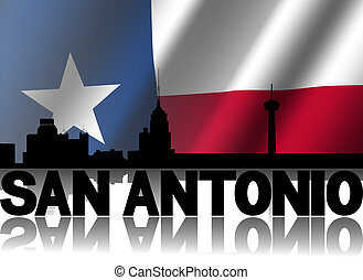 San Antonio skyline and text reflected with rippled Texan...