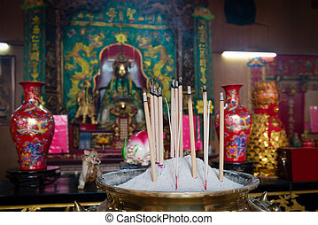 Incense sticks in Chinese temple.