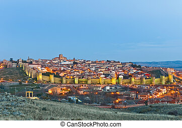 Southern general view of Avila Defensive walls at Spain -...