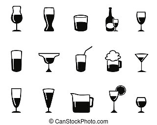 alcohol icons set - isolated alcohol icons set from white...