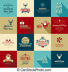 Christmas and New Year elements - Set of elements for...