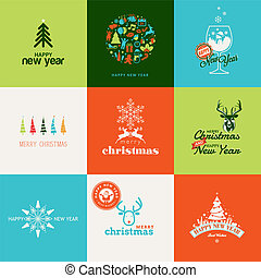 Set of elements for greeting cards - Set of elements for...