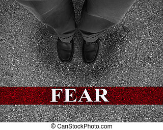 Business Fear - Businessman standing on asphalt starting...