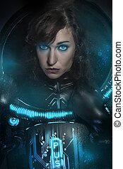 Sexy brunette in black latex costume , science fiction...