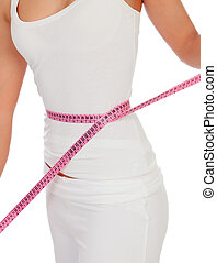 Woman body with a tape measure measuring her waist