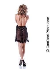 女, ヌード, ネグリジェ, 黒, ポーズを取る, 誘惑的