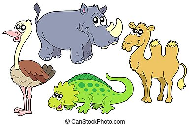 Zoo animals collection - isolated illustration.
