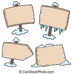 Winter wooden signs - isolated illustration.