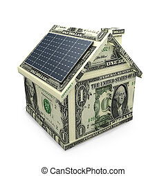 Solar power dollar house - Solar power panels on a dollar...