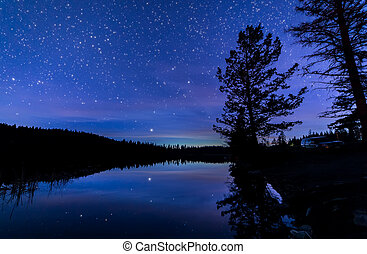 Blue Night Sky Along Lake with Reflection - Reflection of...