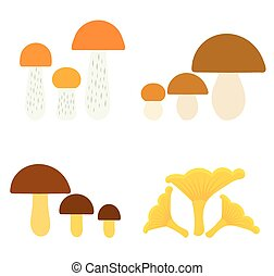 Mushrooms collection - Collection of edible mushrooms Vector...
