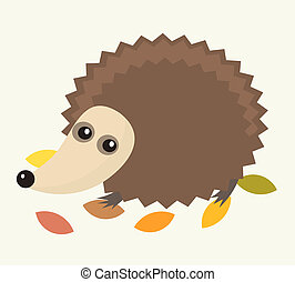 Little hedgehog - A little hedgehog walking in autumn leaves...