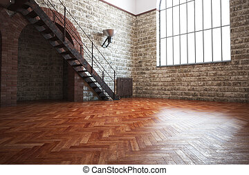Empty room with rustic finishes of a residential interior or...