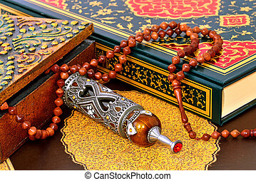 Muslim rosary on the koran - prayer and pilgrimage perfumel...