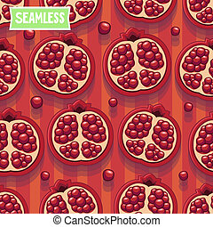 Red pomegranate. Seamless pattern - Seamless pattern with...