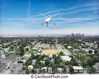 Surveillance UAV drone - Surveillance UAV drone flying over...