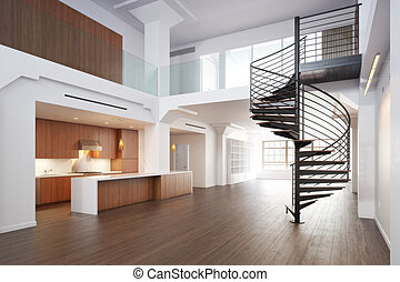 Empty room of residence with a spiral staircase.