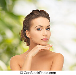 beautiful woman with long hair - health and beauty, green,...