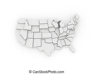 Three-dimensional map of USA 3d