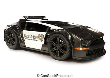 Futuristic Modern Police car cruiser on a white background