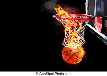 Flaming basketball - Room for text or copy space on a black...