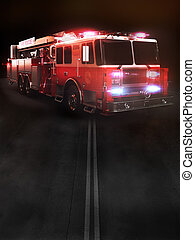 Fire truck on scene with lights - Room for text or copy...